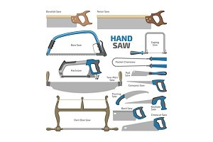 Hand saw vector sawing equipment