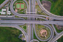Aerial view of highway junctions. Br by  in Transportation