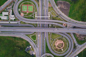 Aerial view of highway junctions. Br