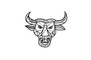 Texas Longhorn Bull Head Mosaic