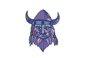 Viking Head Mascot Mosaic