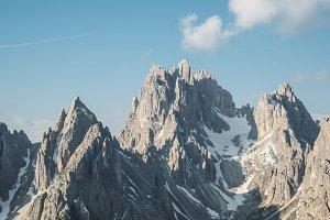 Mountain peak with blue sky