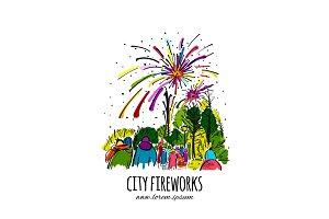 Fireworks, city holidays, sketch for