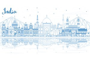 Outline India City Skyline with Blue