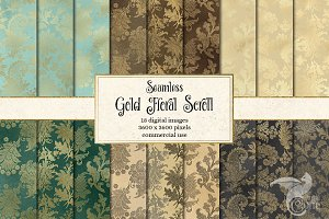 Gold Floral Scroll Digital Paper