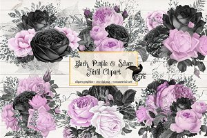 Black Purple & Silver Floral Clipart