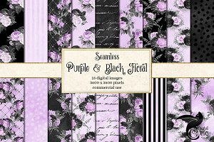 Black Purple Silver Floral Patterns