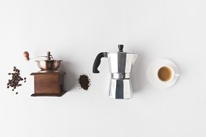 top view of arranged coffee making s