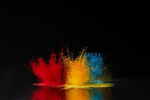 red, blue and yellow holi powder exp