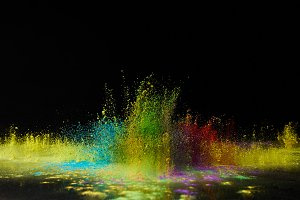 colorful holi powder explosion on bl