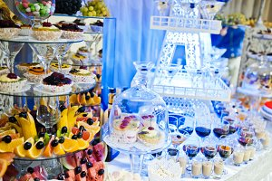 Wedding buffet with huge variety of