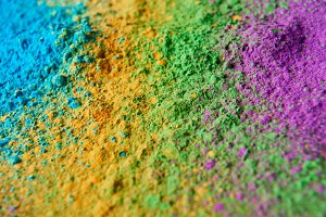 close up of colorful holi powder, tr