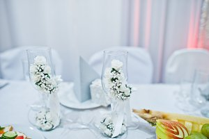 Close-up photo of wedding cutlery on