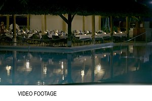 Restaurant by swimming pool
