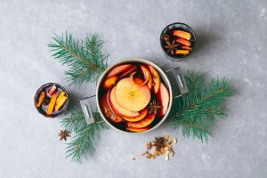 Mulled Wine, Hot Spiced Drink with O