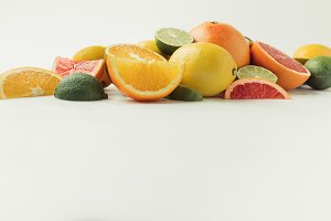 Assorted juicy citruses isolated on