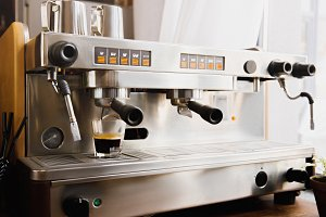 Cooking coffee on modern espresso ma