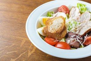 close-up view of gourmet caesar sala