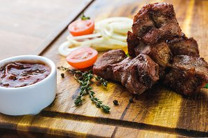 delicious grilled meat with vegetabl