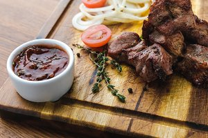 close-up view of grilled meat with v