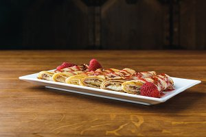 sweet gourmet rolled pancakes with r