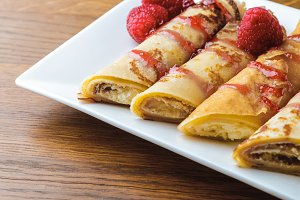 delicious sweet rolled pancakes with