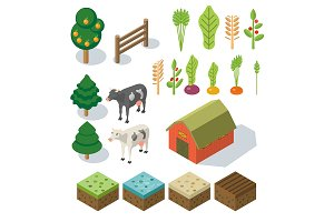 Isometric Farm in village. Elements