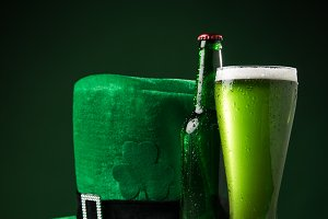 green hat with green beer and coins