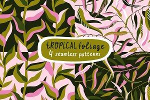 Tropical foliage seamless patterns