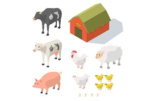 Isometric Farm Animals Isolated