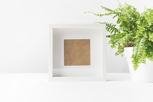 close-up view of empty photo frame a