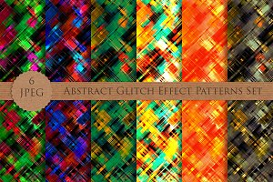 Abstract Glitch Effect Patterns Set
