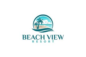 Beach View Resort Logo Template