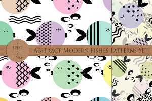 Abstract Modern Fishes Patterns Set