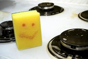 sponge with painted smile