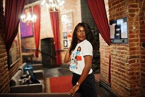 Stylish african american woman in pr
