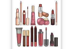 Types of lipsticks and lip glosses