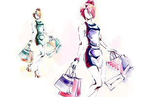 Woman with shopping bags, watercolor