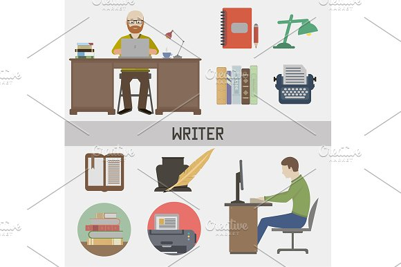 Writer. Set in a flat style - Objects