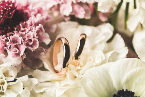 close up view of wedding rings in br