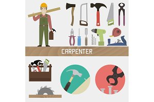 Carpenter. Set in a flat style