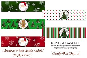 Christmas Water Labels/Napkin Wraps