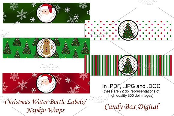 christmas water labels napkin wraps graphic objects creative market