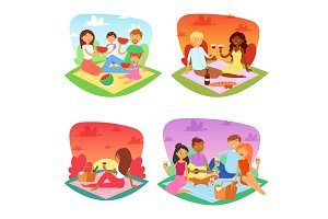 Picnic vector people happy family