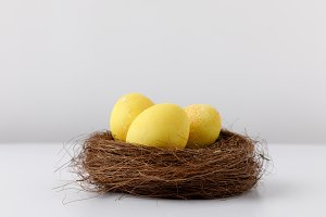 yellow painted easter eggs in decora
