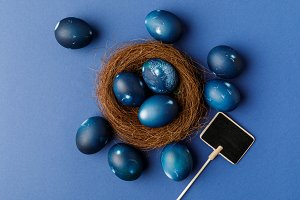top view of blue painted easter eggs