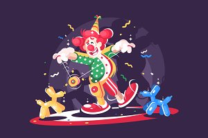 Circus show with cute clown