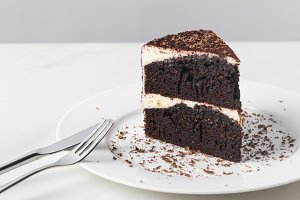 Closeup view of chocolate cake with