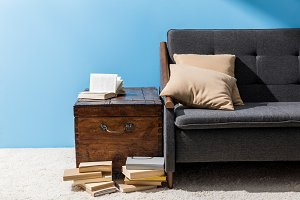 wooden chest with books near couch i