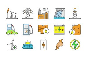Electric energy color icons set